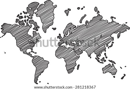 Vector del mapa del mundo del esquema blanco descargue grficos y freehand world map sketch on white background gumiabroncs Gallery