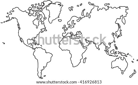 White outline world map vector download free vector art stock freehand world map sketch on white background world map coloring book outlines gumiabroncs Choice Image