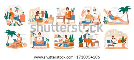 Freelance Character set showing ten scenes of people at work on laptops at the seaside, in an office and at home, vector illustration