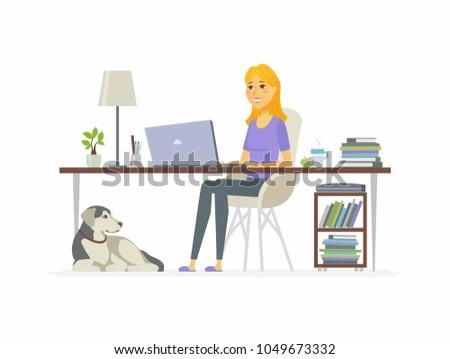 freelance female worker