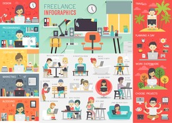 Freelance Infographic set with charts and other elements. Vector illustration.