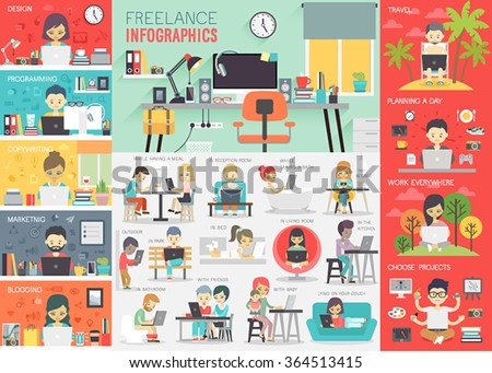 freelance infographic set with