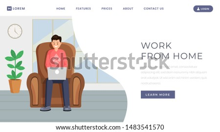 Freelance outsource job landing page template. Working from home, remote, distance job vacancy website homepage color design layout. Male designer, programmer working online with laptop on armchair