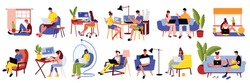 Freelance people work set of isolated icons and images of furniture and people working with computers vector illustration