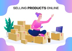 Freelance woman seller check product order. Online Selling. Online Shopping. Vector.