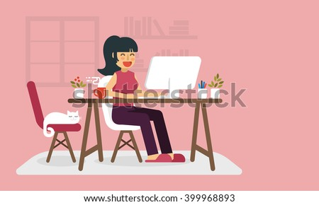 freelance woman working at home