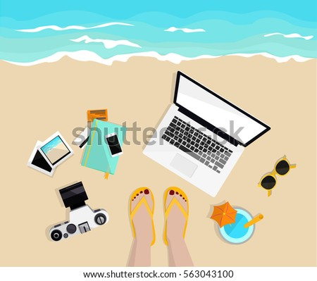 Freelance work. Desktop with mobile, notebook, camera, pictures and credit cards. Girl's legs on the beach. Top view. Hand drawn vector illustration. Freelancer life. Work and rest.