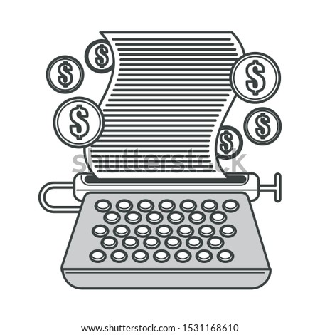 Freelance writing. Typewriter, typing machine, paper with typed text and dollar coin icons. Write for money, creative job. Isolated black line graphic vector illustration on white background.