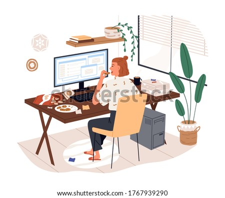 Freelancer female eat junk food working use computer vector flat illustration. Woman sit on desk eating snack feeling stress from remotely work isolated on white. Home office problems
