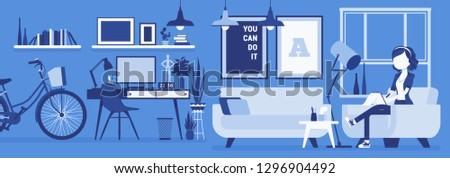 Freelancer girl room interior, home office design. Female freelance worker doing online job, lady earning as independent self-employed person, cozy workspace. Vector illustration, faceless characters