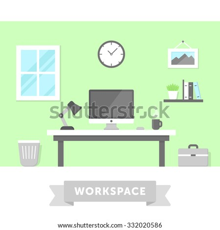 Freelancer home workplace with desktop PC