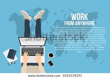 Freelancer is working at home with laptop, top view. Concept of remote working and work from anywhere. Man is typing on the laptop and sitting on the floor. Vector