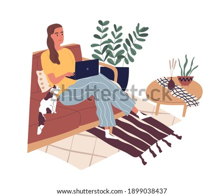 Freelancer sitting with laptop working at home during quarantine. Modern young woman sitting on sofa and studying online. Everyday routine. Flat vector illustration isolated on white background