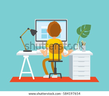 Freelancer working at home office