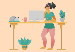 Freelancer working at home office at standing desk. Flat style cartoon faceless character. Lifestyle, self isolation, pandemic concept. Minimal vector illustration.