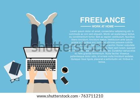 Freelancer working at home with laptop, top view. Concept of remote working or working at home. Outsourced employee, developer or web designer. Vector