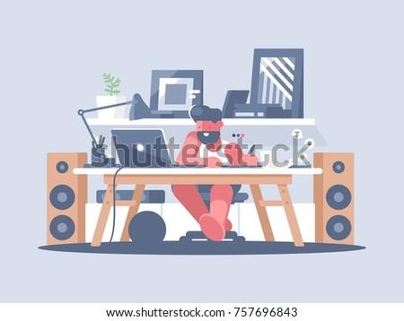 Freelancer works with laptop at home. Remote work of graphic designer. Vector illustration