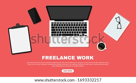 Freelancer workspace, workspace in top view. Working at home and home office concept. Freelance jobs and vacancies concept. Laptop, smartphone and cup of coffee and on the desk. Vector