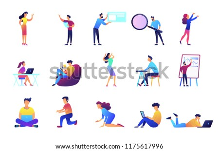 Freelancers and businessmen set. Manager at presentation, programmer and developer with laptops, web designer, student, specialist and magnifier. Vector illustrations set isolated on white background.