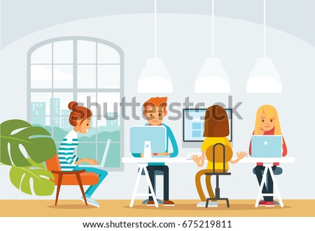Freelancers working in co-working space. Start up business.