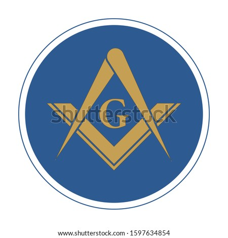 Freemasonry Emblem Icon Logo. The masonic square and compass symbol. Vector illustration.