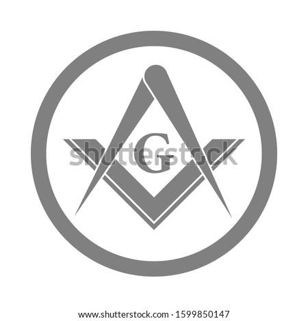 Freemasonry Emblem Icon Logo. The masonic square and compass symbol. Vector illustration. Stock photo ©