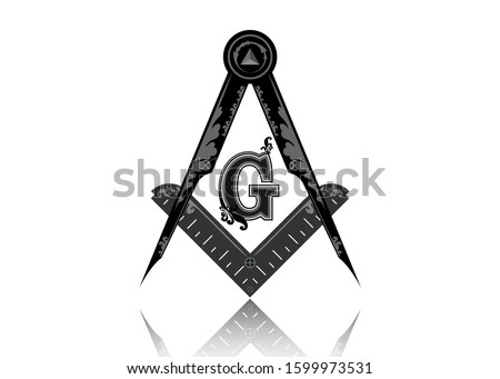 Freemasonry emblem - the masonic square and compass symbol. All seeing eye of god in sacred geometry triangle, masonry and illuminati symbol, logo design element. Round vector isolated on white