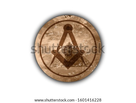 Freemasonry emblem - the old masonic square and compass symbol. All seeing eye of god in sacred geometry pyramidal, masonry and illuminati symbol, logo design element. Round vector isolated on white