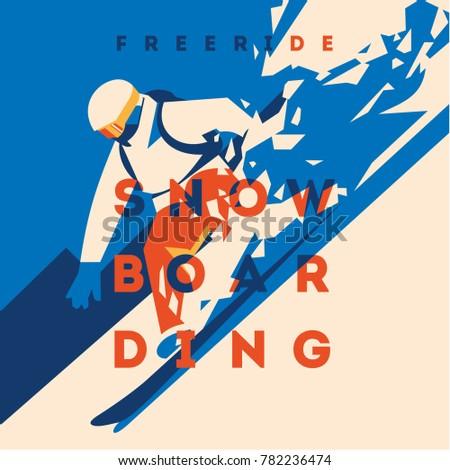 freeride snowboarder in motion