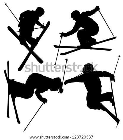 freestyle skier silhouette on