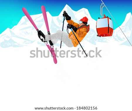 Freestyle Skiing.Mountain skiing.Extreme Skiing.Winter Sport.Vector