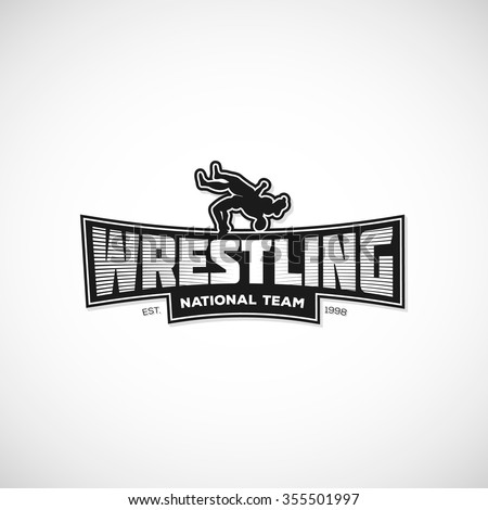 Freestyle Wrestling logo, sign, illustration. Template for gym, print, sticker, cover, poster or any art works. Vector illustration.