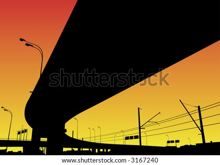 Freeway Interchange on the red sky, Moscow