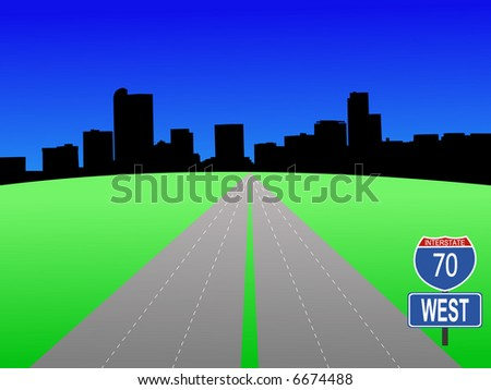 freeway leading to Denver skyline illustration