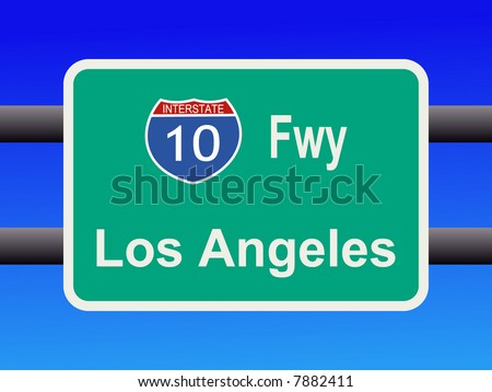 freeway to downtown Los Angeles sign illustration