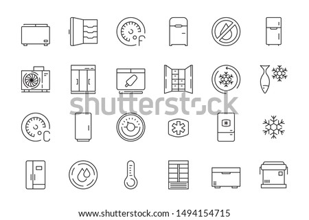 Freez icon. Refrigerator freezer in interior for food compact and commercial portable fridges vector thin line symbols