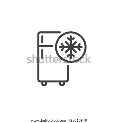 Freezer cold line icon, outline vector sign, linear style pictogram isolated on white. Refrigerator and snowflake symbol, logo illustration. Editable stroke