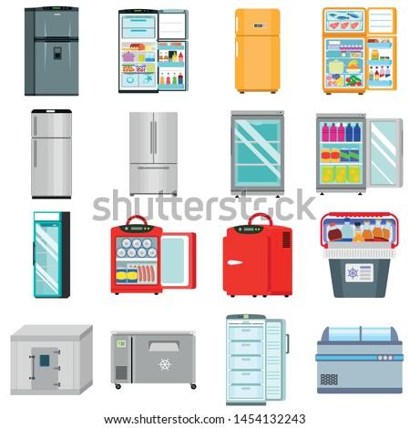 Freezer icons set. Flat set of freezer vector icons for web design Stockfoto ©
