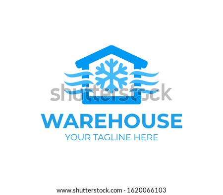 Freezing cold room warehouse refrigerated and cold storage, logo design. Refrigerated warehouse for food and automated cold room warehouse, vector design and illustration