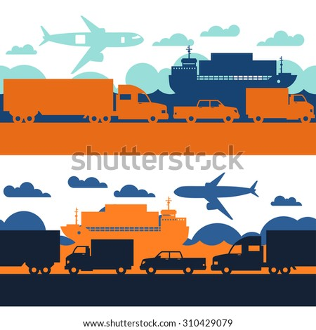 Freight cargo transport icons seamless patterns in flat design style.