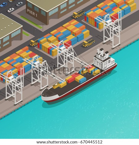 Freight loading dock at harbor wharf with moored cargo barge and stacked containers isometric composition vector illustration
