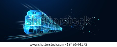 Freight train locomotive with freight, Abstract vector 3d. Isolated on  dark blue background. Transportation, logistics or international shipping concept. Digital polygonal low poly mesh illustration Photo stock ©