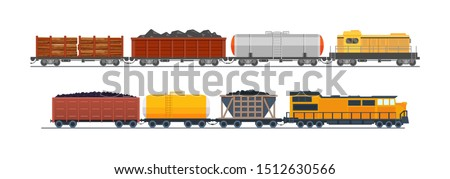 Freight train with wagons, tanks, freight, cisterns. Railway locomotive train with oil wagon, transportation cargo. Transportation of oil, sand, wood. Modern freight traffic vector flat illustration stock photo