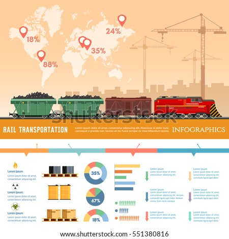 Freight trains infographics. Train transportation, cargo wagons. Global train logistics. Transportation of coal, oil, gas, sand. Railway cargo transport