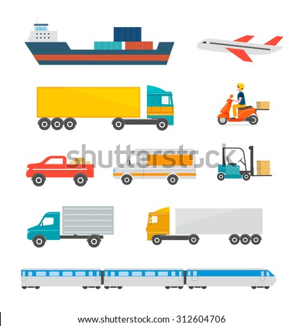 Freight transport icons set. Cargo and delivery, logistics and freight traffic, vector illustration. Includes cargo ship, truck, lorry, car, plane, scooter etc. Isolated