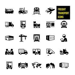 Freight Transport Icons stock illustration.  air transport, barge, rail, semi-truck and other shipping methods. They also include a forklift, warehouse, freight train, airplane, delivery truck.