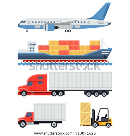 Freight transportation and delivery logistics flat icons set with international operator complex service abstract isolated vector illustration