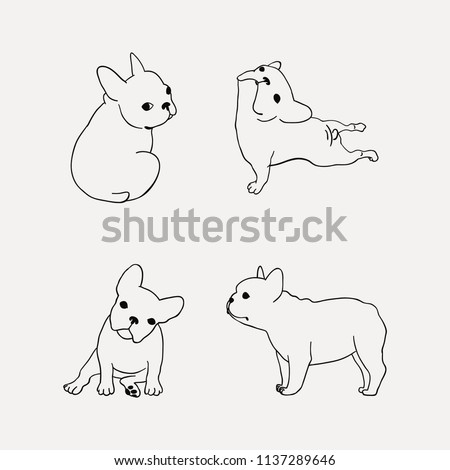 French Bulldog clipart with 4 poses. Dog outline.