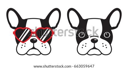 french bulldog face dog heart