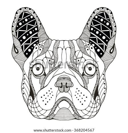 french bulldog head zentangle